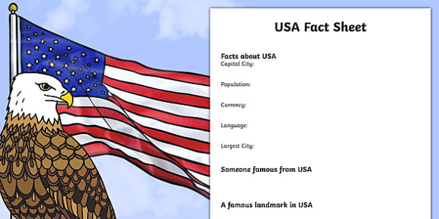 Usa Factsheet Writing Template - Usa, United States Of America