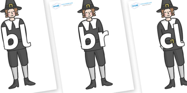 Initial Letter Blends on Pilgrims - Initial Letters, initial letter, letter blend, letter blends, consonant, consonants, digraph, trigraph, literacy, alphabet, letters, foundation stage literacy