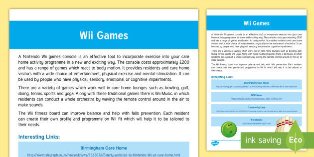 Wii Guide - Exercise, Nintendo Wii, ideas, activities, elderly care, care homes, activity coordinators, support,