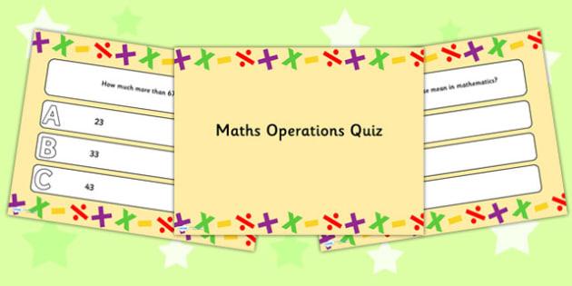 Maths Operations PowerPoint Quiz - maths, quiz, maths quiz, ppt