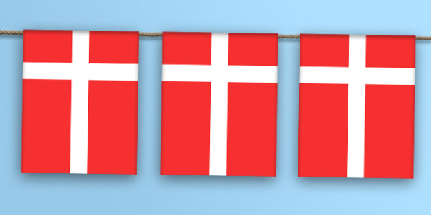 Denmark Flag Bunting - world, display, country, countries, flags, map