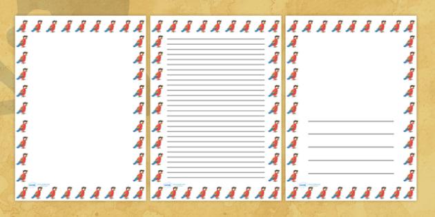 Pirate Parrot Portrait Page Borders- Portrait Page Borders - Page border, border, writing template, writing aid, writing frame, a4 border, template, templates, landscape