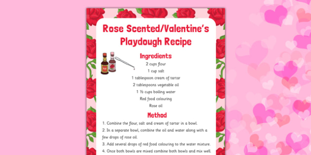 Rose Scented Valentine Playdough Recipe - playdough, recipe, eyfs