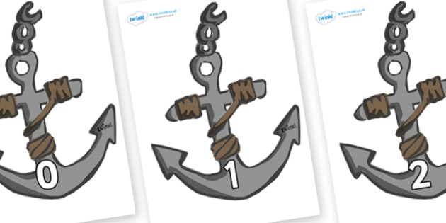 Numbers 0-100 on Anchors - 0-100, foundation stage numeracy, Number recognition, Number flashcards, counting, number frieze, Display numbers, number posters