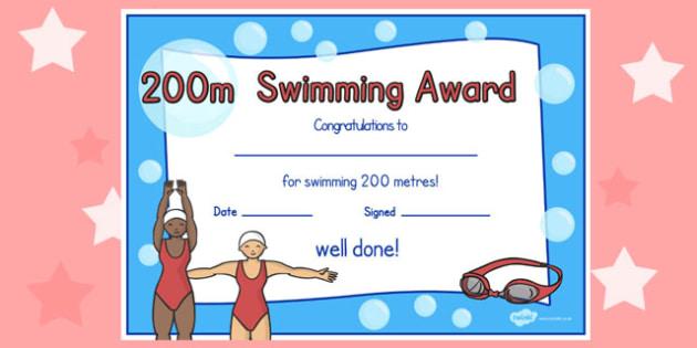 200m Swimming Certificate - swimming, certificate, 200m, awards
