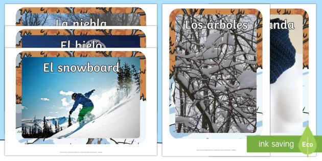 Winter Display Photos-Spanish - Winter, KS2, display, photographs, vocabulary,Spanish