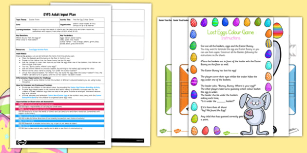 Find the Egg Colour Game EYFS Adult Input Plan and Resource Pack - EYFS, Early Years planning, adult led, Christianity, Festival, Easter, turn taking