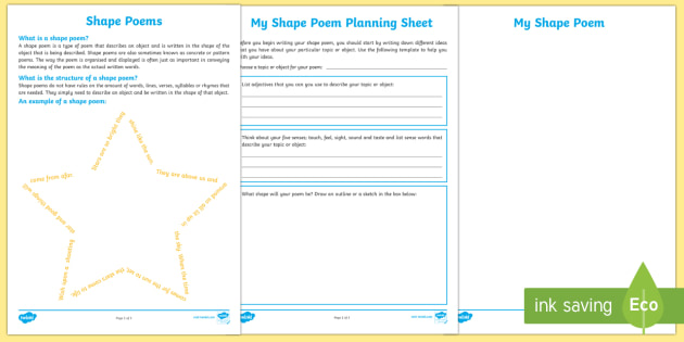 Shape Poem Writing Template - Literacy, Interpreting, analysing, evaluating, english, poetry, writing, poems, poetry, shape poems,
