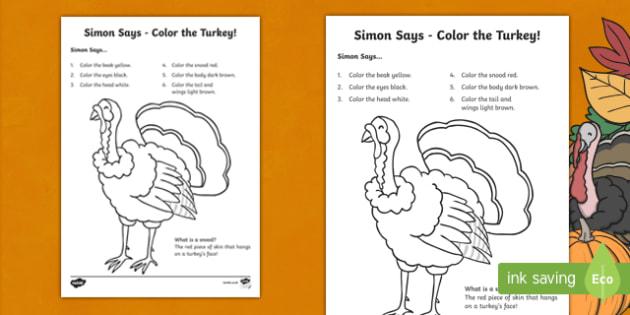 Simon Says Turkey Coloring Activity