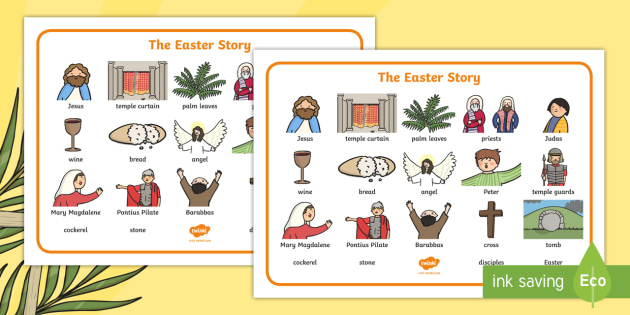 Easter Story Word Mat - easter, religion, RE, visual aid, keyword