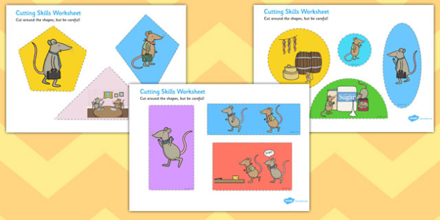 The Town Mouse and The Country Mouse Cutting Skills Worksheets - fine motor skills