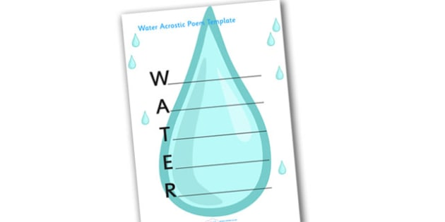 Droplet Shape Poetry Template - poetry template, droplet shaped template, writing template, water themed writing template, water themed, poetry