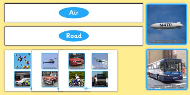 Road vs Air Photo Transport Sorting Activity - road, air, travel, transport, sorting activity, sort, sorting