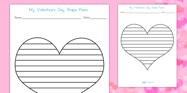 Valentine's Day Shape Poetry Template - valentines, cupid, poem