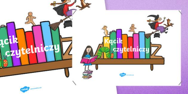 Plakat Kącik czytelniczy po polsku