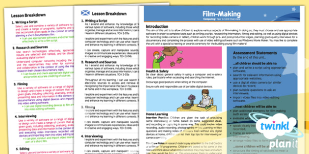Computing: Film Making Year 6 Planning Overview CfE