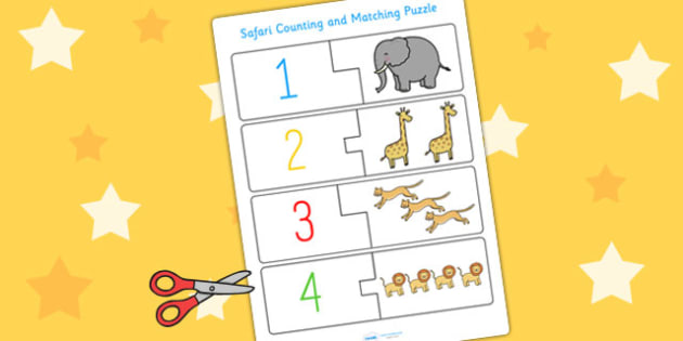 Safari Themed Counting Puzzle - counting aid, counting games