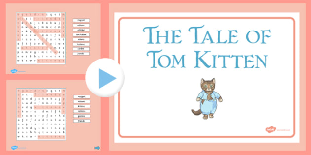 Beatrix Potter - The Tale of Tom Kitten Interactive Wordsearch - beatrix potter, tom kitten