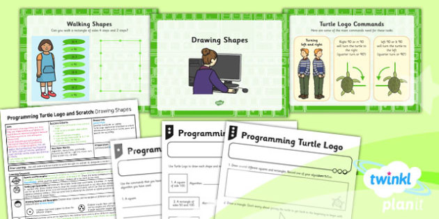 Computing: Programming Turtle Logo and Scratch: Drawing Shapes Year 2 Lesson Pack 1