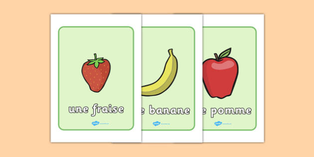 Fruit Display Posters French - french, fruit, display, poster, sign, banner, francais, France, apple, banana