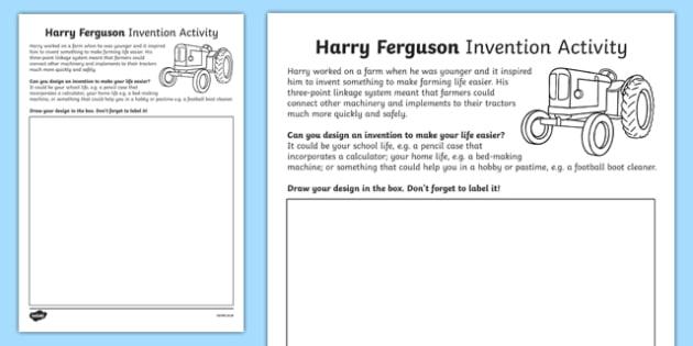 Harry Ferguson Invention Activity Sheet, worksheet