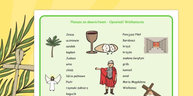Plansza ze słownictwem Opowieść Wielkanocna po polsku - święta