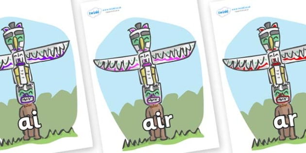 Phase 3 Phonemes on Totem Poles - Phonemes, phoneme, Phase 3, Phase three, Foundation, Literacy, Letters and Sounds, DfES, display