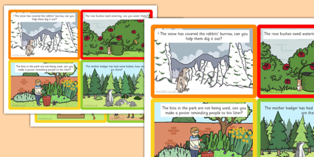 Role Play Challenge Cards to Support Teaching on Percy The Park Keeper - challenge cards