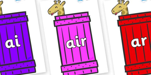 Phase 3 Phonemes on Giraffes (Crate) to Support Teaching on Dear Zoo - Phonemes, phoneme, Phase 3, Phase three, Foundation, Literacy, Letters and Sounds, DfES, display