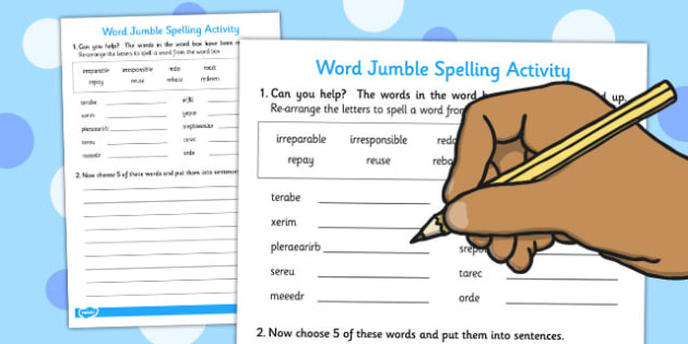 Prefixes 'ir' And 're' Word Jumble Activity - activities, activities