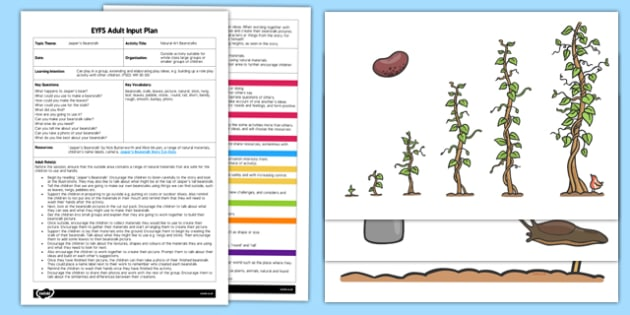 Natural Art Beanstalks EYFS Adult Input Plan and Resource Pack - EYFS, Early Years planning, adult led, Jasper's Beanstalk, Mick Inkpen, Nick Butterworth, plants and growth, natural materials, Forest Schools, outdoor learning