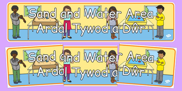 Sand and Water Area Display Banner Welsh Translation - Sand and Water Area, Display Banner, Foundation Phase