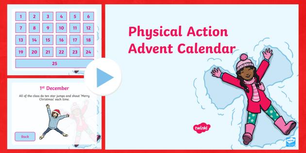Physical Advent Calendar PowerPoint - Advent, advent calendar, yoga, yoga poses, Christmas