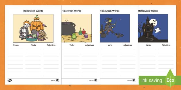 Halloween Verb Adjective Noun Picture Activity Sheets- Halloween Verb Adjective Noun Picture Worksheets, worksheet, sheets, verb, adjective, noun, picture, Halloween, pumpkin, witch, bat, scary, black cat, mummy, grave stone, cauldron, broomstick, ha