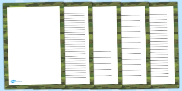 Green Camouflage Portrait Page Borders - camouflage, page borders