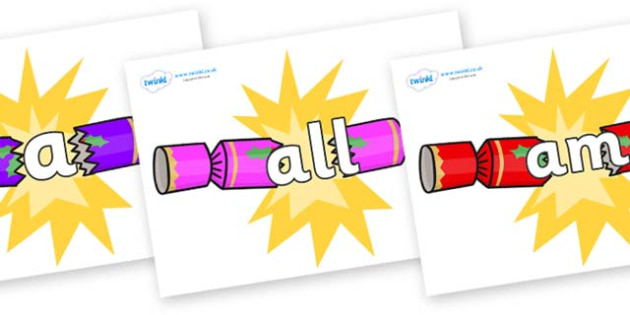 Foundation Stage 2 Keywords on Christmas Crackers (Cracking) - FS2, CLL, keywords, Communication language and literacy,  Display, Key words, high frequency words, foundation stage literacy, DfES Letters and Sounds, Letters and Sounds, spelling