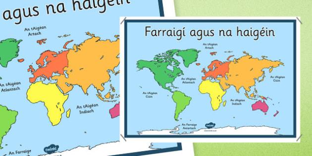 Irish Seas and Oceans Display Poster Gaeilge - Irish, gaeilge, seas, oceans, map, poster