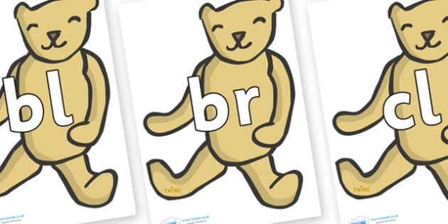 Initial Letter Blends on Old Teddy Bears - Initial Letters, initial letter, letter blend, letter blends, consonant, consonants, digraph, trigraph, literacy, alphabet, letters, foundation stage literacy