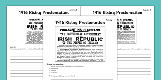 1916 Rising Proclamation Worksheets - Easter 1916 Rising, irish history, proclamation of ireland, poblacht na heireann, worksheet