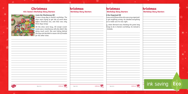 KS1 Santa's Workshop Story Starters Activity Sheets