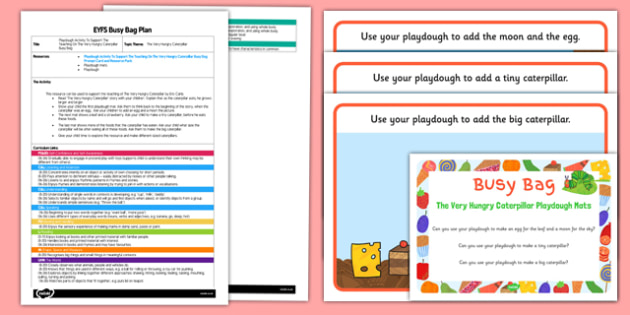 Playdough Activity EYFS Busy Bag Plan and Resource Pack to Support Teaching on the Very Hungry Caterpillar - Size comparrison, big and little, Eric Carle
