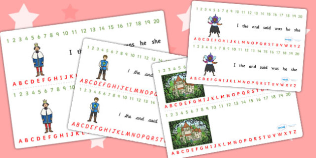 Sleeping Beauty Combined Number and Alphabet Strips - sleeping beauty, alphabet, alphabet strip, alphabet line, letters, a-z strip, a-z line, writing aid