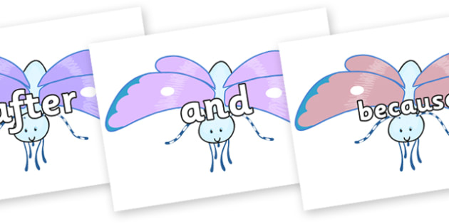 Connectives on Blue Butterfly to Support Teaching on The Crunching Munching Caterpillar - Connectives, VCOP, connective resources, connectives display words, connective displays