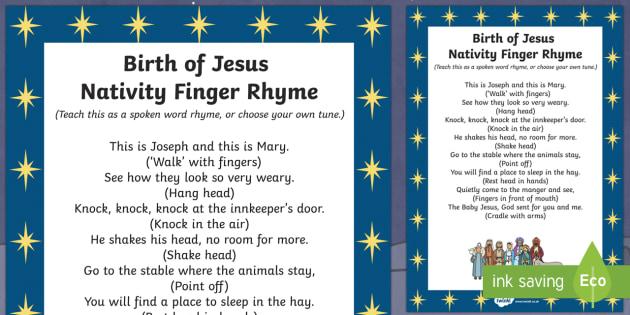 Birth of Jesus Nativity Finger Rhyme - birth, jesus, nativity, finger, rhyme