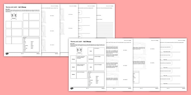 Romeo and Juliet Act I Activity Sheet - Romeo and Juliet, Act I, Quotations, Homework, Key Stage 4, ks4, secondary, play, Shakespeare, worksheet