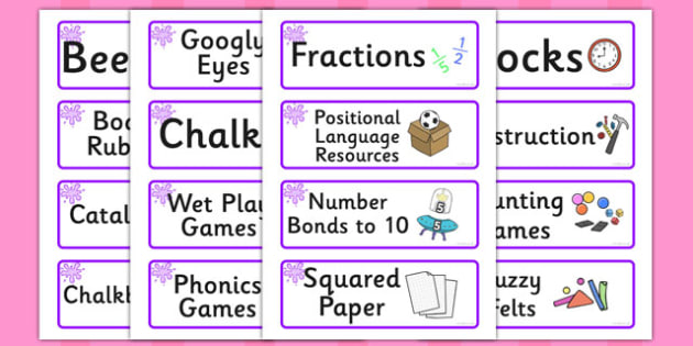 Purple Themed Editable Additional Classroom Resource Labels - Themed Label template, Resource Label, Name Labels, Editable Labels, Drawer Labels, KS1 Labels, Foundation Labels, Foundation Stage Labels, Teaching Labels, Resource Labels, Tray Labels, P