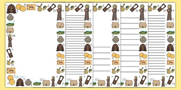 Anglo Saxons Page Borders - Anglo Saxon, Saxons, Anglo-saxon, history, page border, border, writing template, writing aid, writing, Northumbria, Kent, bronze helmet, East Anglia, Bayeux Tapestry, St. Bede, Offa's Duke, jewellery, Wessex, Sutton Hoo,