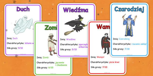 Gra karciana Bohaterowie Halloween po polsku - duch, wiedźma