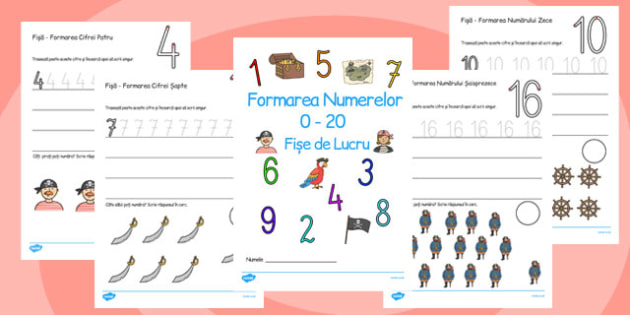 Number Formation Workbook Pirates Romanian - romanian, number, overwriting