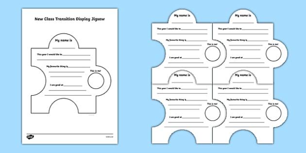New Class Transition Display Jigsaw Activity Sheet - Irish, worksheet